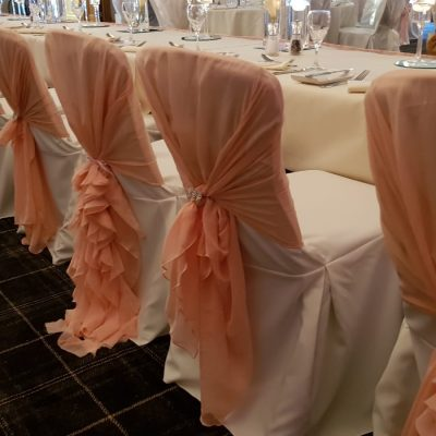 Blush pink chair hoods & ruffles